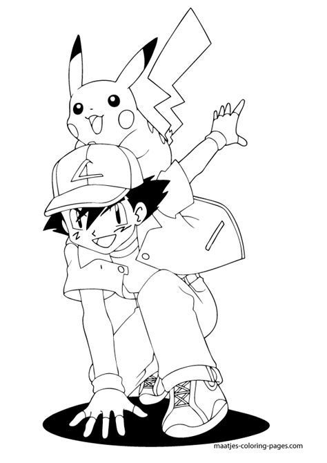 ash ketchum and pikachu coloring page picture to pin on