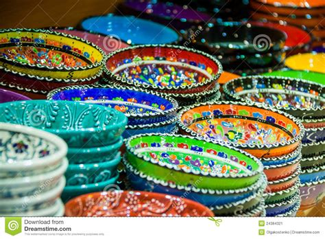 colorful plates colorful artisan plates and bowls stock image image