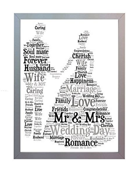 Framed Wedding Word Art A4 Print for the Bride & Groom