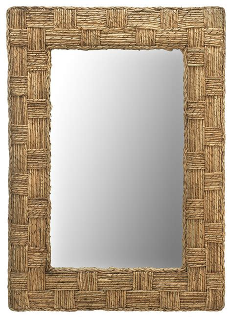 tropical bathroom mirrors rectangular checquered wall mirror in rope tropical