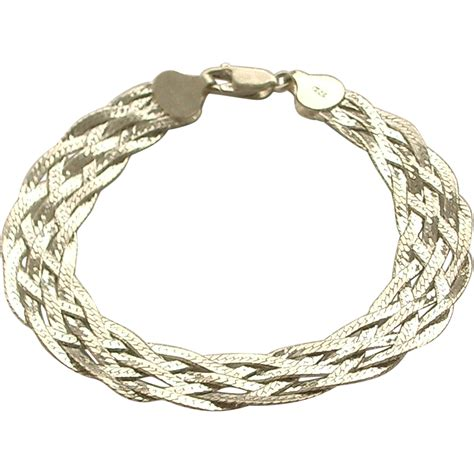 sterling silver braided weave bracelet sold on ruby