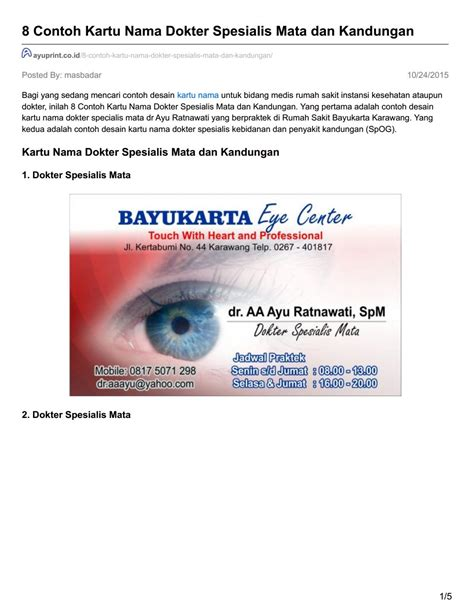 desain kartu nama dokter hewan ayuprint co id 8 contoh kartu nama dokter spesialis mata