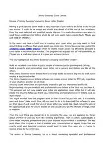 Jimmy Cover Letter by Jimmy Sweeney Cover Letters