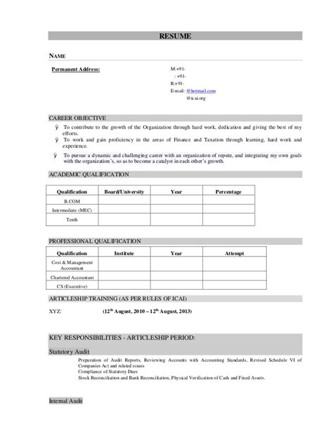 resume sles for articleship 28 images resume sles for