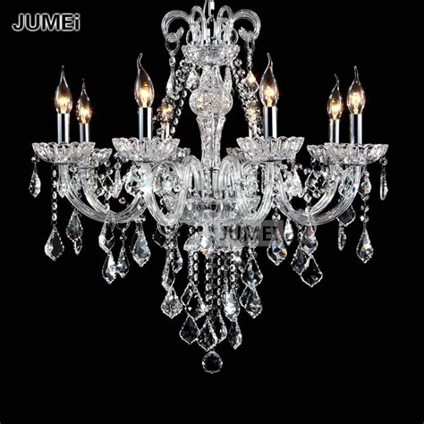 Glass Chandeliers For Dining Room Traditional Clear Glass 8 Lights Chandelier Lighting Cristal Pendente For Living Room