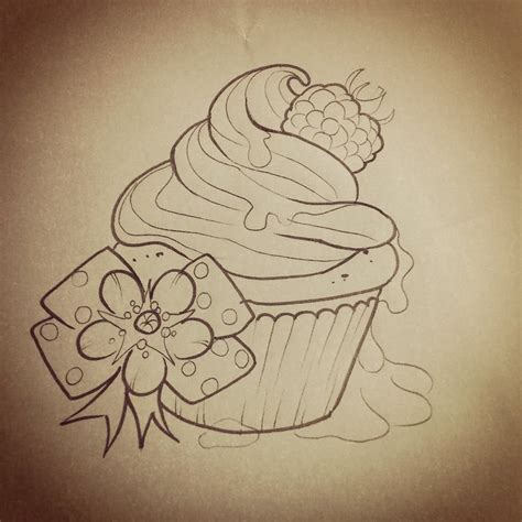candy tattoos designs black cupcake with bow stencil tattoos
