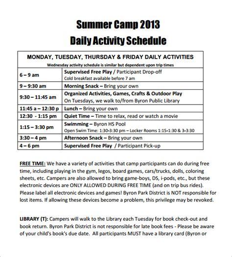 camp schedule templates    premium templates