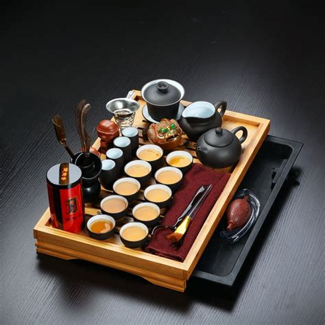 Sale Solid Wood Tea Tray Kungfu Tea buy 32 pieces drinkware yixing clay gaiwan kung fu solid wood tea tray set ceramic pot