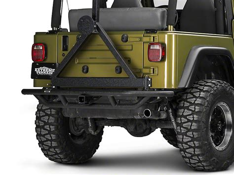 rugged ridge tire carrier rugged ridge wrangler rrc rear bumper w tire carrier textured black 11503 13 87 06 wrangler