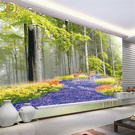 wallpaper dinding lung online buy grosir 3d pemandangan wallpaper from china 3d