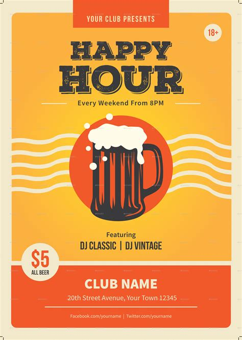 happy hour template happy hour flyer template by me55enjah graphicriver