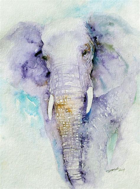 elephant original watercolor painting wall decor