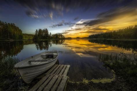 wallpaper en 4k wallpaper lake boat ringerike norway 4k nature 4260