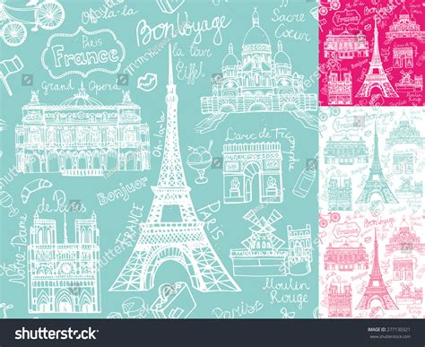 travel pattern in french paris landmark lettering seamless pattern vintage hand