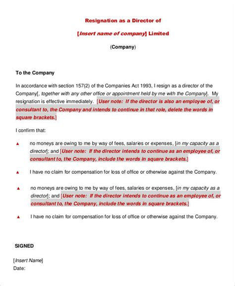 Resignation Letter From A Company by Director Resignation Letter Templates 7 Free Pdf Word Format Free Premium