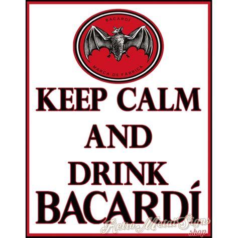 calm  drink bacardi alcohol metal tin sign poster
