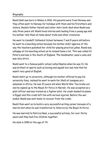 roald dahl biography lesson plan ks3 the twits roald dahl sow by beckyjohnston76