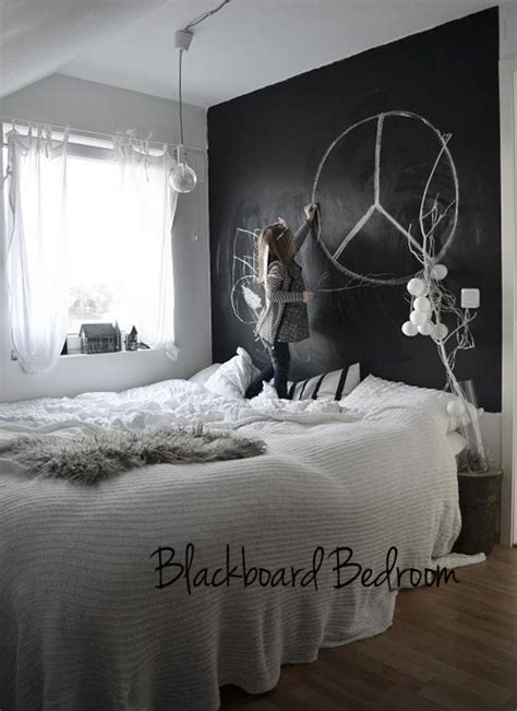 chalk paint on walls chalkboard paint wall in bedroom the style files