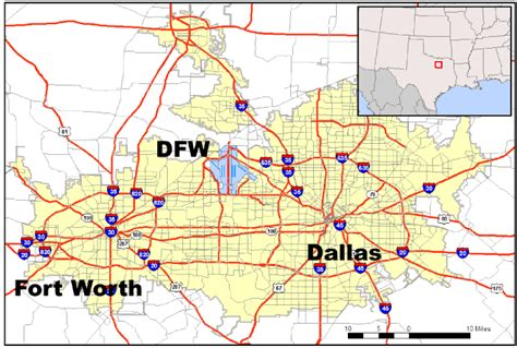 map of dfw location of the dallas fort worth airport