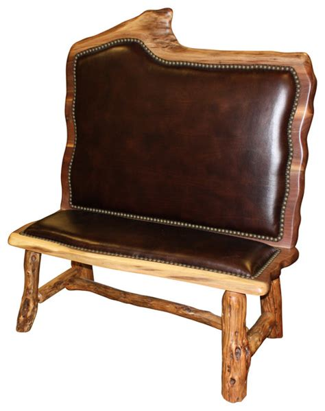 Accent Bench With Back High Back Walnut Wood Bench Rustic Armchairs And