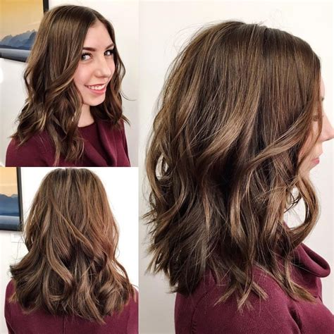 Lob With Soft Curl Hairstyle S Brown Soft Layered Lob With Waves And Center Part