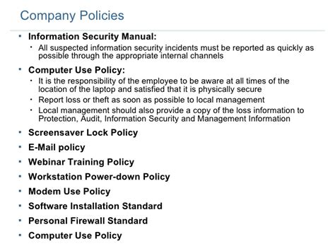 Employee Security Training 1 Computer Security Policy Template