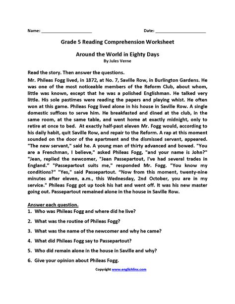 reading comprehension test in grade 5 grade 5 reading comprehension worksheets worksheets for