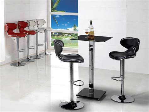 Contemporary Bar Table Modern Black Or Clear Glass 2 Seater Dining Table Kitchen Bar Stool Set Ebay