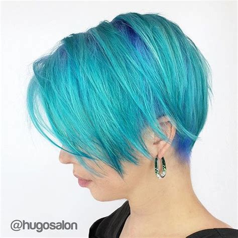 Turcquoise Short Hair Styles | love this turquoise and blue hair color and great undercut