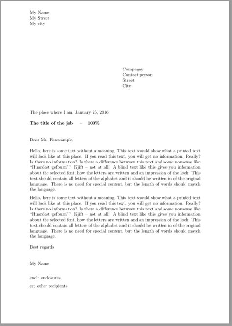 Business Letter Templates With Cc Addresses business letter with enclosure and cc letters