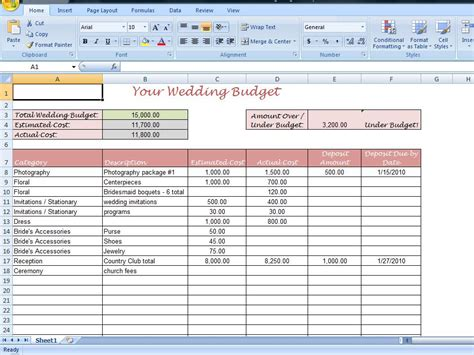 printable wedding budget template for your wedding