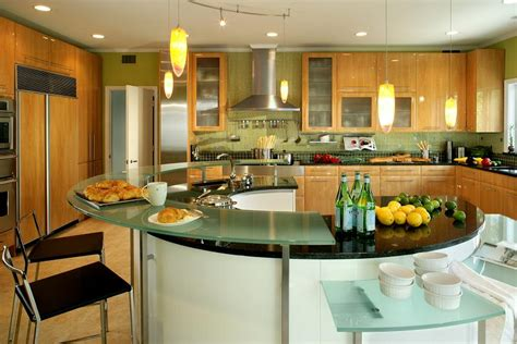 curved kitchen island with modern look multiple counter top layers home decorating trends homedit