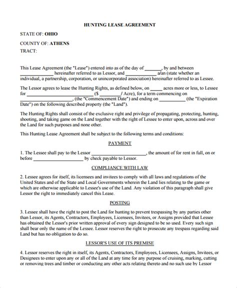 wildlife management plan template sle lease agreement 10 documents in pdf word
