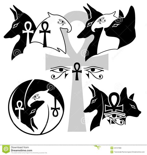 anubis horus basted the god of egypt stock vector
