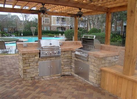 Kitchens With Islands Excellent Outdoor Kitchen Ideas With L Shape Stone Kitchen