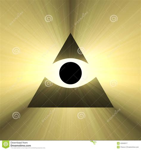 triangle of light eye mask all seeing eye pyramid with light flare stock illustration