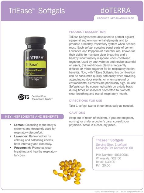 doterra product information sheets google search