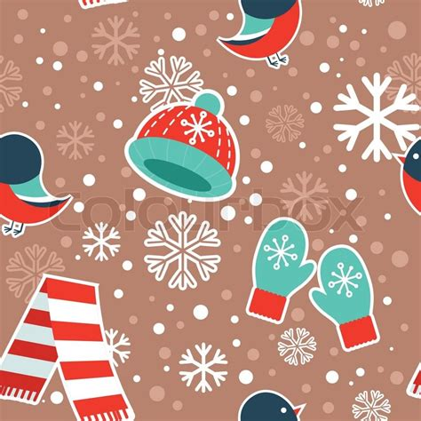 pattern red winter clothes cute winter seamless pattern with warm clothes and
