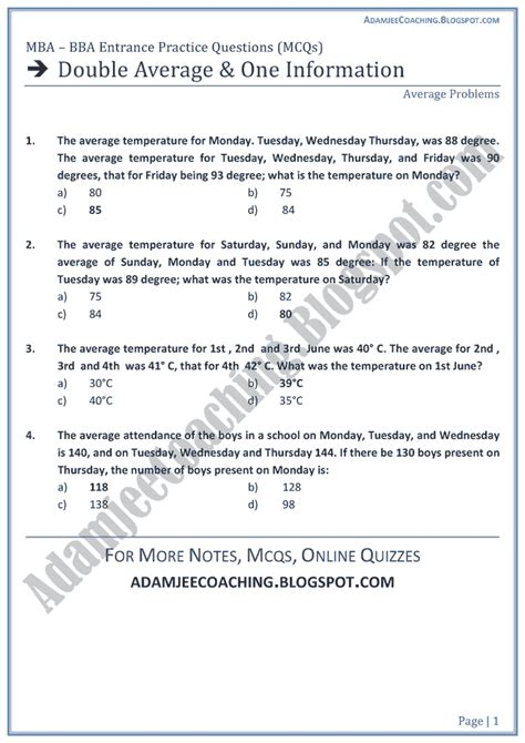 Aptitude Test For Mba by Adamjee Coaching Average And One Information