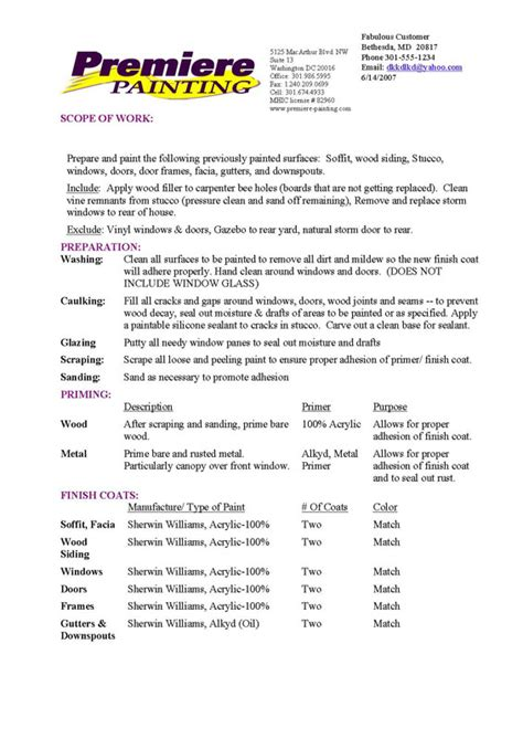 How To Write A Painting Contract by Construction Form Template