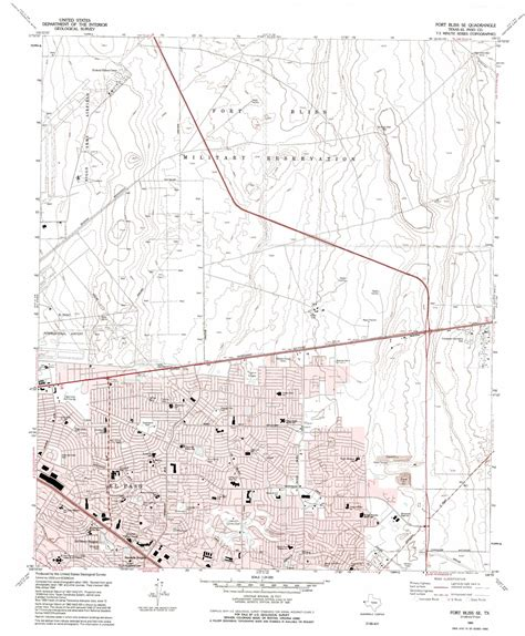 ft bliss texas map fort bliss se topographic map tx usgs topo 31106g3