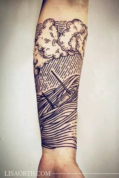 linework tattoo great lines from orth linework ship boat
