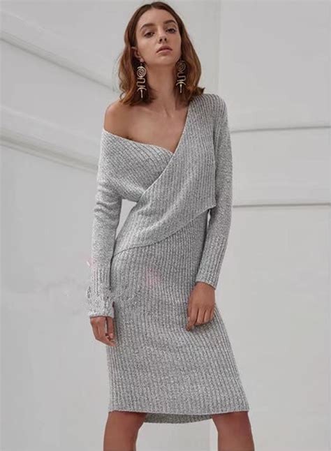 Sleeve V Neck Knit Dress s fashion v neck sleeve knit bodycon sweater