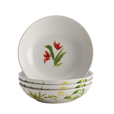bonjour dinnerware meadow rooster stoneware 4 piece fruit bowl set 50198 the home depot