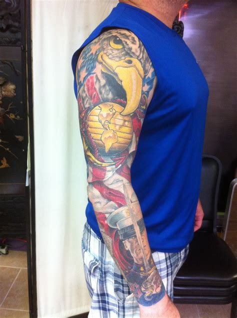quarter sleeve tattoo marine corps october 2011 chagotattoos