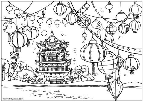 chinese garden coloring pages chinese pagoda and lanterns coloring sheet homeschool