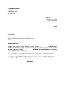 Exemple gratuit de Lettre demande attestation sécurité sociale