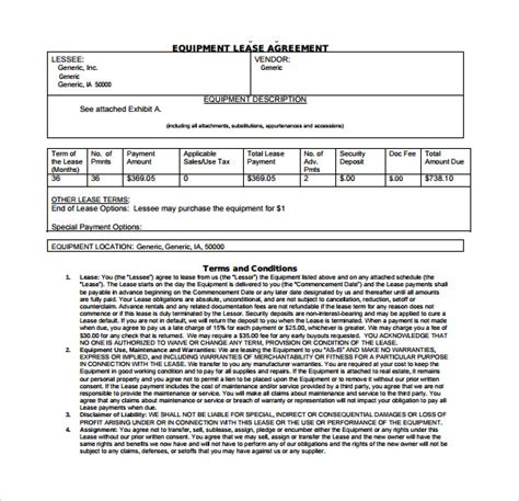 sle equipment lease agreement template 8 free