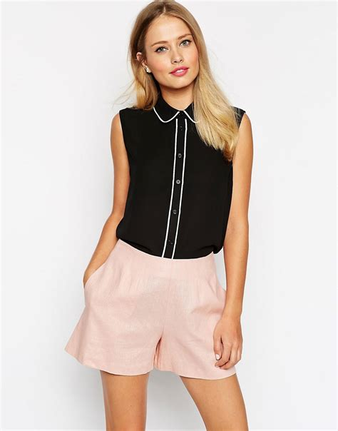 Blouse With Contrast Piping Korz asos asos sleeveless blouse with contrast piping at asos