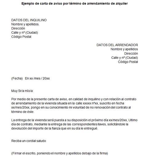 carta de preaviso de no renovacion contrato laboral por el trabajador ejemplo de carta de aviso de t 233 rmino de contrato de arriendo